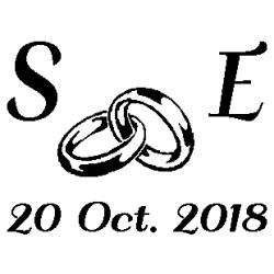Patron découp'pliage initiales SE date mariage