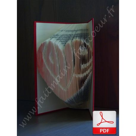 """Folded book pattern """"Love"""" shapped in heart"""