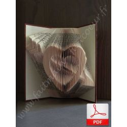 Folded book pattern cupid arrow heart