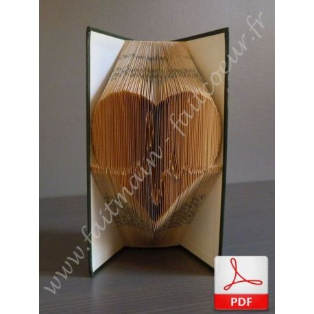 Folded book pattern beating heart