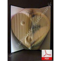 Folded book pattern Yin Yang heart