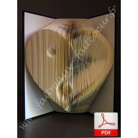 Folded book pattern Yin Yang heart