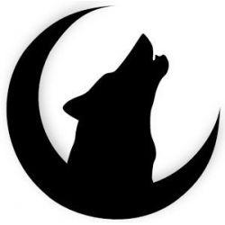 Patron livre plié loup hurlant à la lune