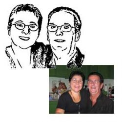 Cut and fold portrait of Nicole & Lomer