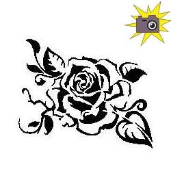 Tattoo style rose cut and fold pattern